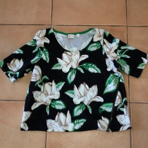 Anthropologie flower top with zipper detail size L
